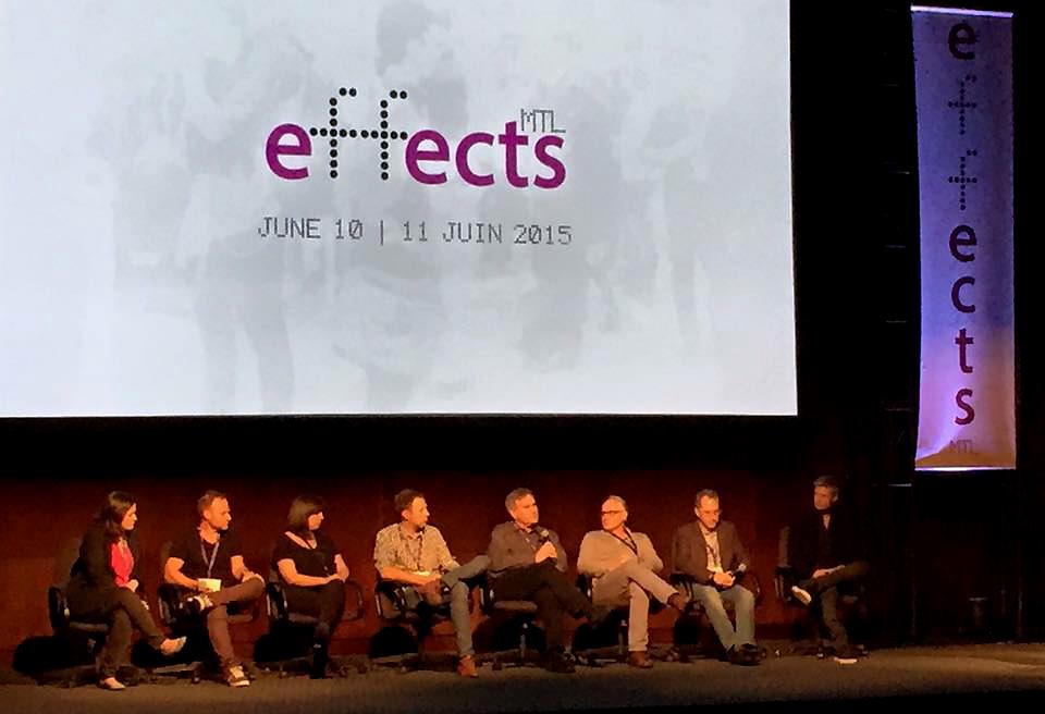 Denis Doré avec quelques participants à l'événement effects MTL Crédit photo : Squeeze Studio